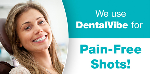 ad banner of woman smiling and promoting DentalVibe